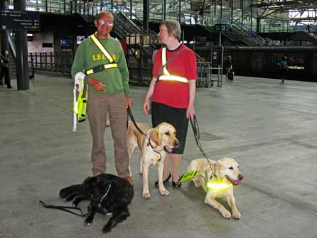 Alfie with his owner, his wife and Simon at Leeds Station